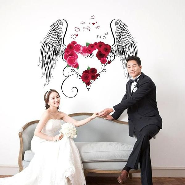Wedding Room Decoration Wall Sticker Love Angel Pattern Painting Celebrate Tags For House