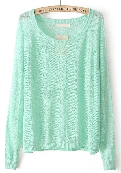 Green Hollow-out Long Sleeve Loose Cotton Blend Pullover