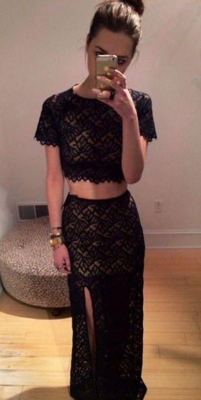 Online shop crop top long prom dress short sleeves with slit black lace evening dresses