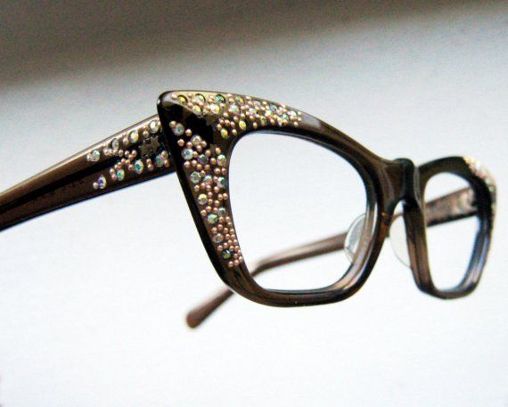 A little too much bling, but like the shape.  Vintage 50's SQUARE CAT EYE Rhinestone Eyeglass Frames