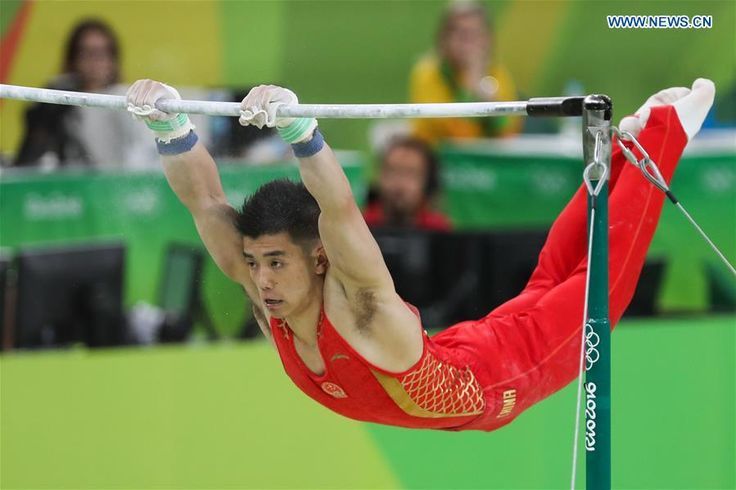 China's Lin Chaopan competes in horizontal bar event during the men's indivudual all-around final of Artistic Gymnastics at the 2016 Rio Olympic Games in Rio de Janeiro, Brazil, on Aug. 10, 2016. http://www.chinasportsbeat.com/2016/08/chinese-athletes-compete-in-individual.html