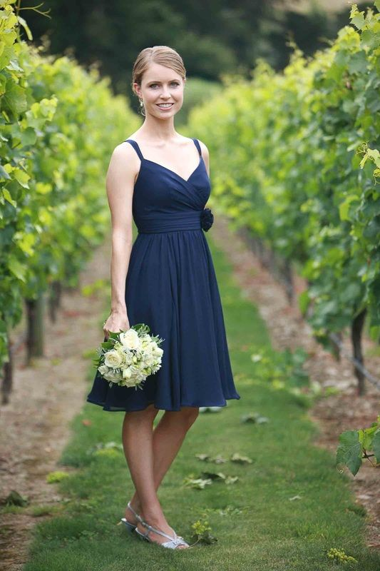 ViCTOR Bridesmaid - Style EMMA - Ink chiffon knee length bridesmaid dress with cross over neckline and gathered waist
