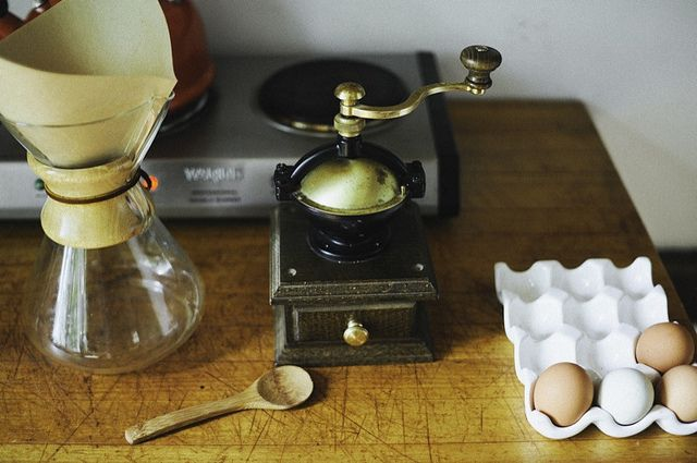 {morning coffee by way of Chemex} + love the ceramic egg holder!