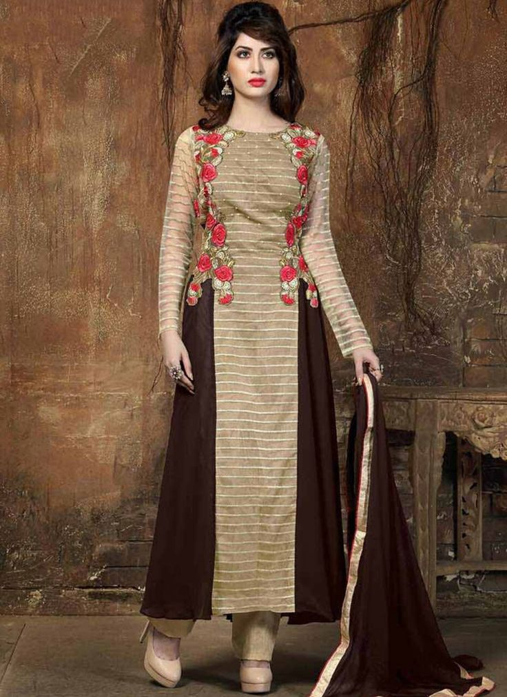 Heavenly Brown Embroidered Work Georgette Designer Salwar Suit