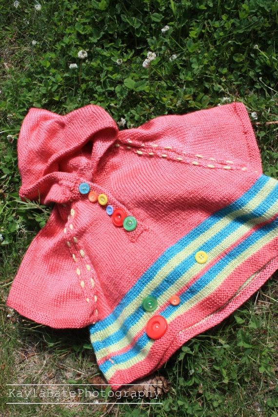 hand made knit kids poncho