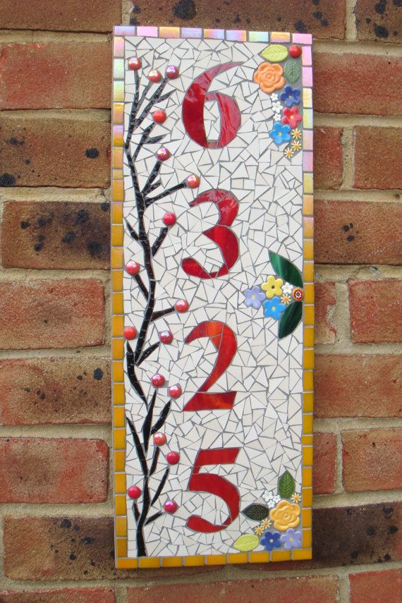 4 Digit Mosaic House Number Plaque MADE TO ORDER by FunkyMosaicsUK
