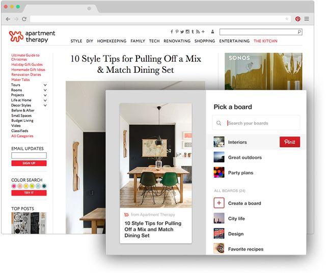 Botón de Pinterest de navegador para Chrome Guarda ideas creativas de la Web con un solo clic Simplemente haz clic en lo que encuentres en otro sitio que quieras guardar. ¡Pruébalo!