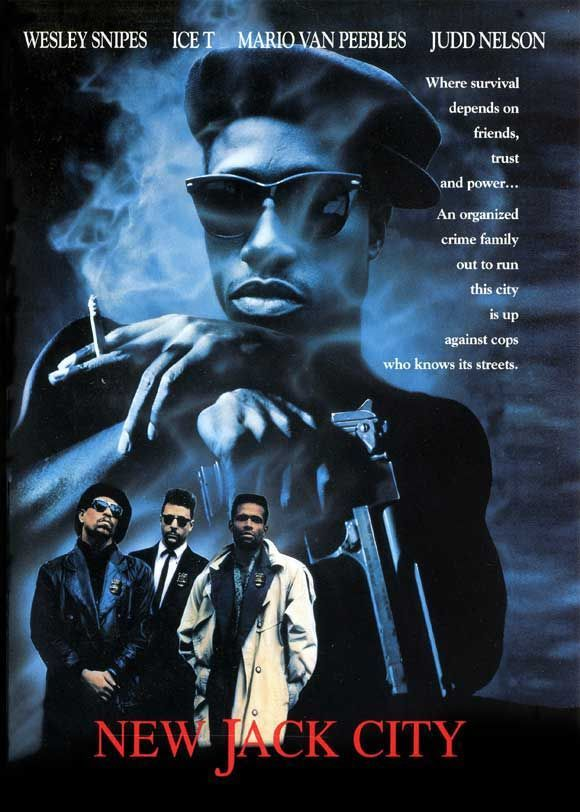 New Jack City (1991) - Dir. by Mario Van Peebles; Written by Thomas Lee Wright and Barry Michael Cooper; Starring Wesley Snipes as Nino Brown; and Ice T as Scotty Appleton #GangsterMovie #GangsterFlick