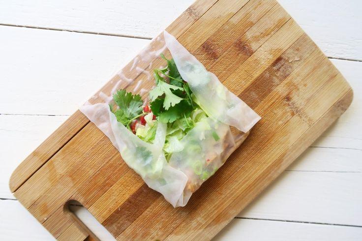 Vietnamese springrolls met kip, taugé en sojadip