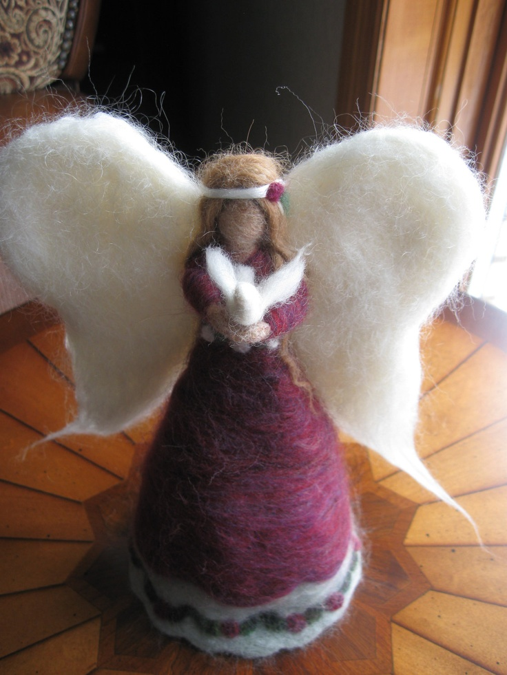 Custom made needle felted Angel tree topper one-of-a-kind figure. $100.00, via Etsy. This is beautiful!