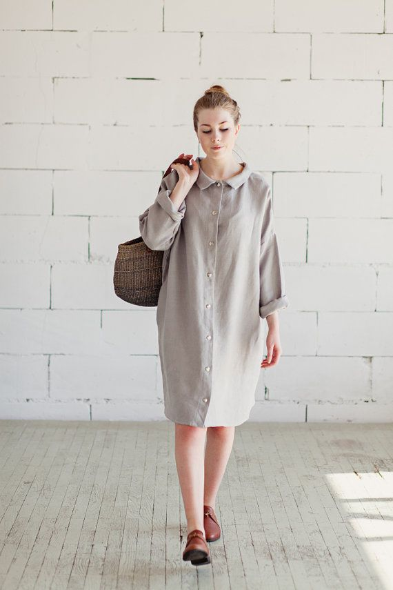 100% Linen Light Grey Dress hand made in London sustainable