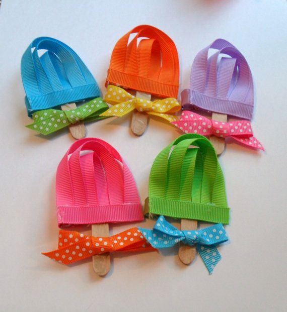 Popsicle Ribbon Sculpture Hair Clips