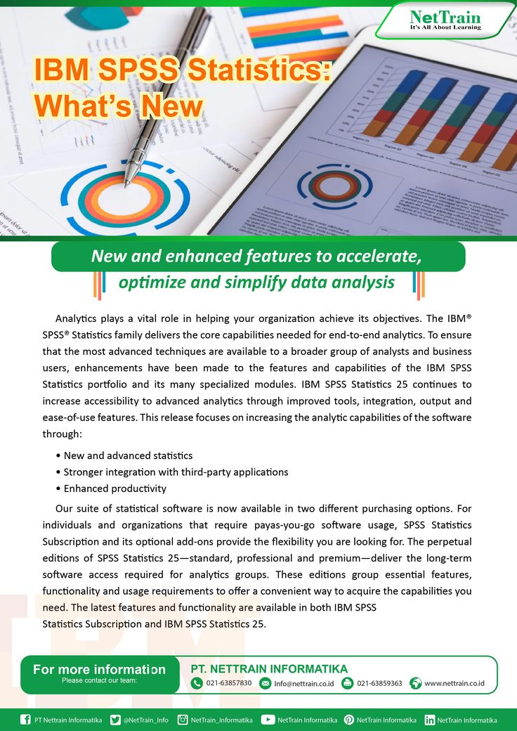 New and enchaced features to acclerate, optimize and simplify data analysis. Analytics plays a vital role in helping your organization achieve its objectives. The IBM SPSS Statistics family delivers the core capabilities needed for end to end analytics  #InfoNetTRAIN #Statistics #Simplify #Optimize #Data #Acclerate #Objectives #Capabilities #Helping #Features