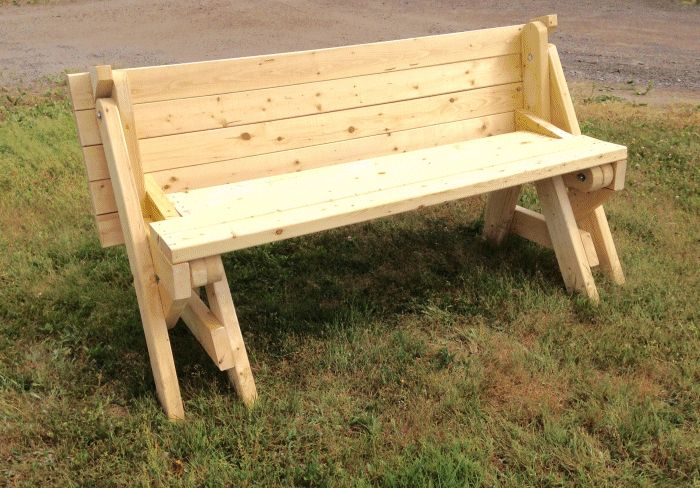 Folding picnic table from 2x4 lumber in bench seat mode made by G.A. Miedema