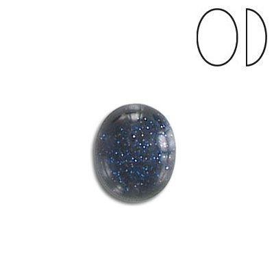 Cabochon semi-precious, 12x10mm, oval, blue gold stone