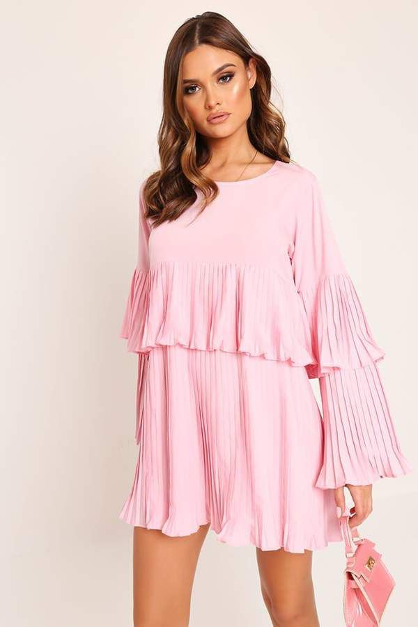 0d161f310156ef Pink long sleeve pleated swing dress in 2019 | FASHION: Rainbow ...