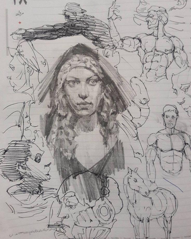 "188 Likes, 7 Comments - @sorouushhjahdi05 on Instagram: ""#drawing #skethbook #skething #portrait #figurative #figure #illustration #anatomy#artist #horses…"""