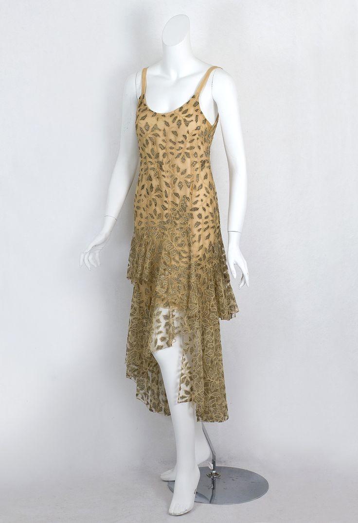 Metallic lace evening dress, c.1929, labeled Bergdorf Goodman