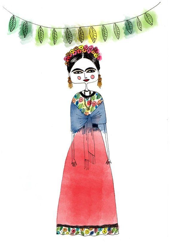 Frida Kahlo Frida art illustration print girls by diarysketches, $14.00, etsy.com
