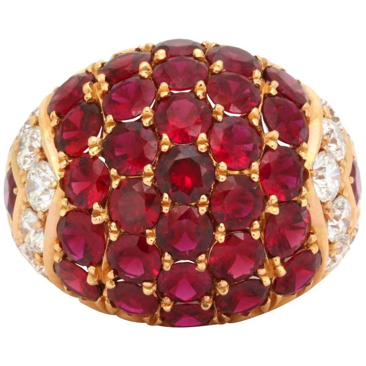 Impressive Ruby Diamond Gold Ring | From a unique collection of vintage cocktail rings at https://www.1stdibs.com/jewelry/rings/cocktail-rings/