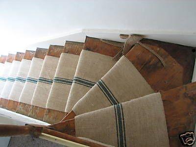 Grain sack stair runner: Idea, Grainsack, Sacks Stairs, Grains Sacks, Basements Stairs, Stairs Runners, Stair Runners, Burlap Runners, Antique