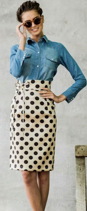 I love this skirt paired with chambray!