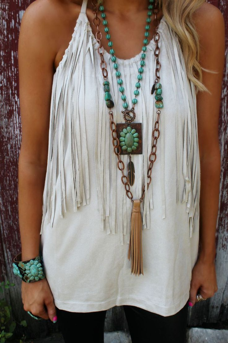 Sexy modern hippie fringe tank top with extra long tassel gypsy necklace and Indian ethnic inspired turquoise cuff jewelry for a cool festival look. For the best BOHEMIAN fashion style FOLLOW https://www.pinterest.com/happygolicky/the-best-boho-chic-fashion-bohemian-jewelry-gypsy-/ now.