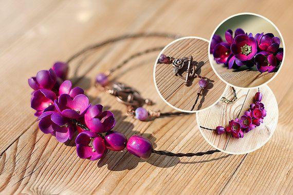 """Ожерелье """"Фиолетовые цветы"""""""