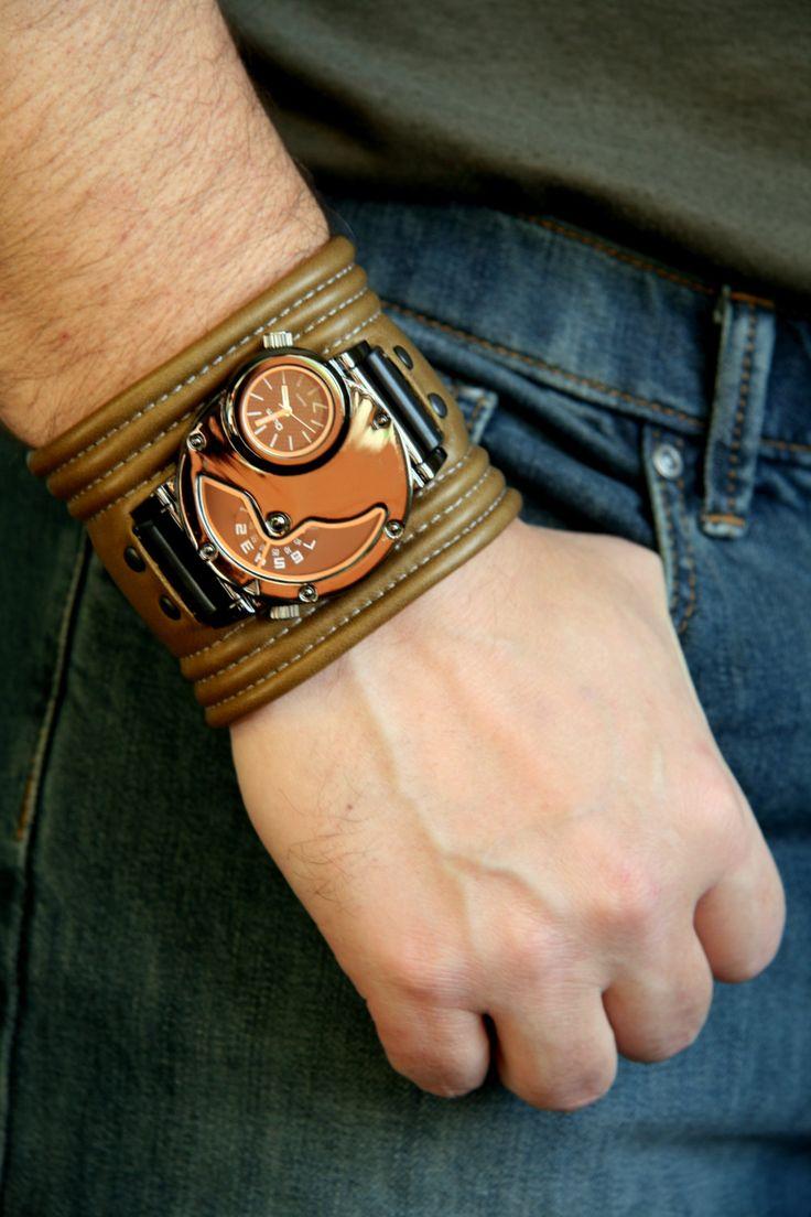 """Men's Wrist watch leather bracelet """"Hunter-Fisher"""" - SALE - Worldwide Shipping - Steampunk watch. $160.00"""