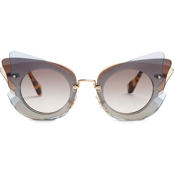 Miu Miu Butterfly-frame sunglasses (6.094.055 VND) ❤ liked on Polyvore featuring accessories, eyewear, sunglasses, miu miu eyewear, tortoiseshell glasses, tortoise shell sunglasses, butterfly glasses and clear glasses