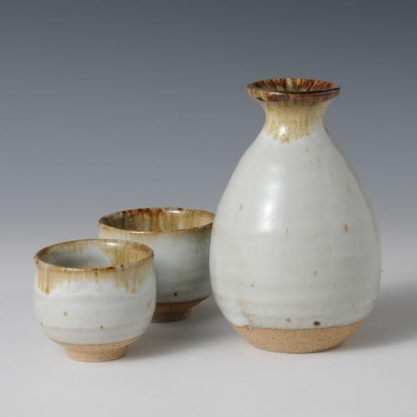 Japan Pottery Net/MADARAKARATSU-TOKKURI (Sake Bottle with Spotted Karatsu Style)