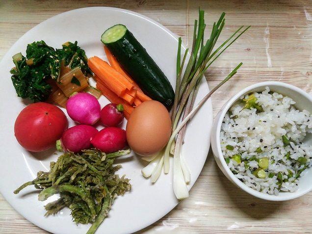 今日の夕ご飯 タラの芽の天ぷら スイスチャードのお浸し 野菜 ゆで卵 タラの芽のご飯