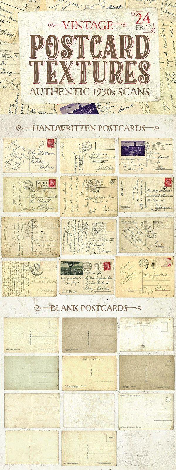 Pack de texturas vintage para diseñar tarjetas postales