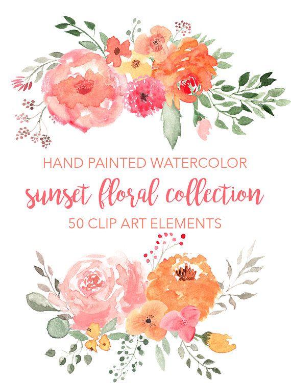 SUNSET FLORAL CLIPART bouquets wreath clipart floral design elements Clipart Flowers for commercial use digital watercolor leaves