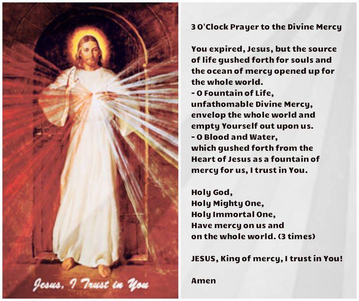 3:00 o'clock prayer to the Divine Mercy