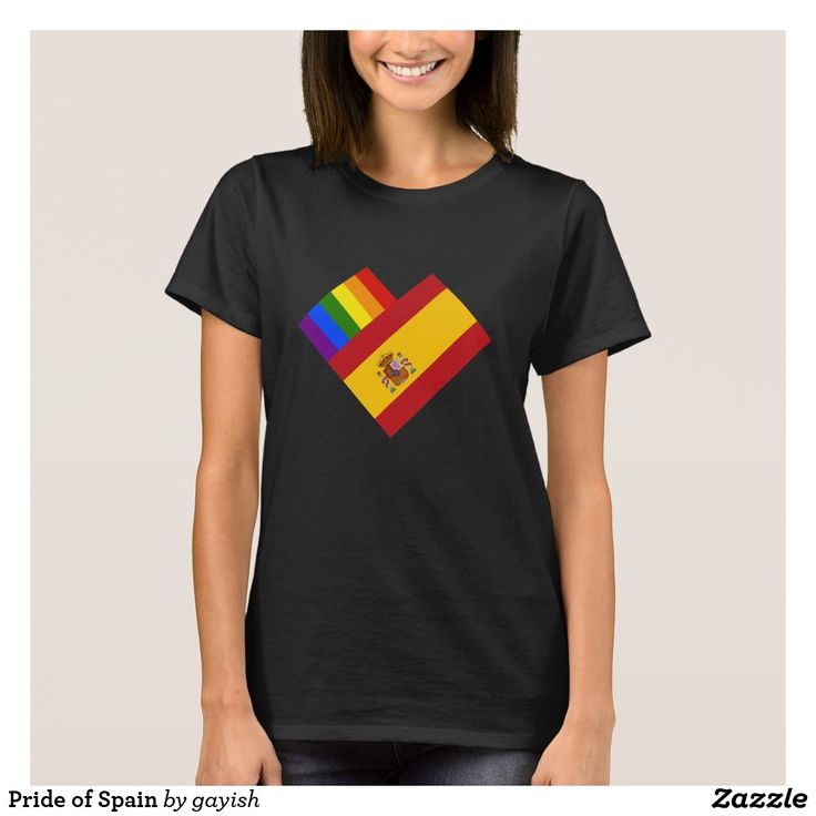 Pride of Spain t-shirt.  #gaypride #gayrights #tshits #prideshirt #pride #flags #heart #espana #spain #gayespana #gayspain
