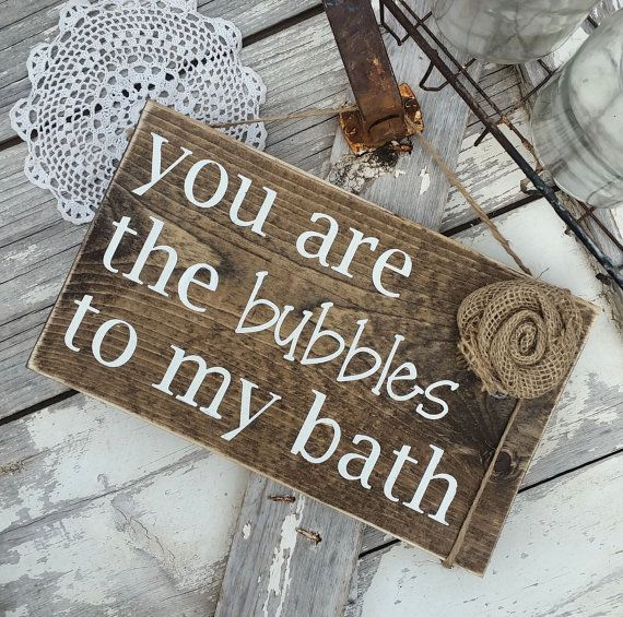 You are the bubbles to my bath  Rustic bathroom by ThreeArrowsCo