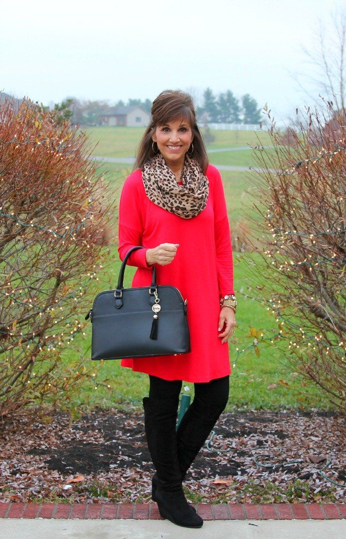 Red Tunic for Day 21 of 25 Days of Winter Fashion