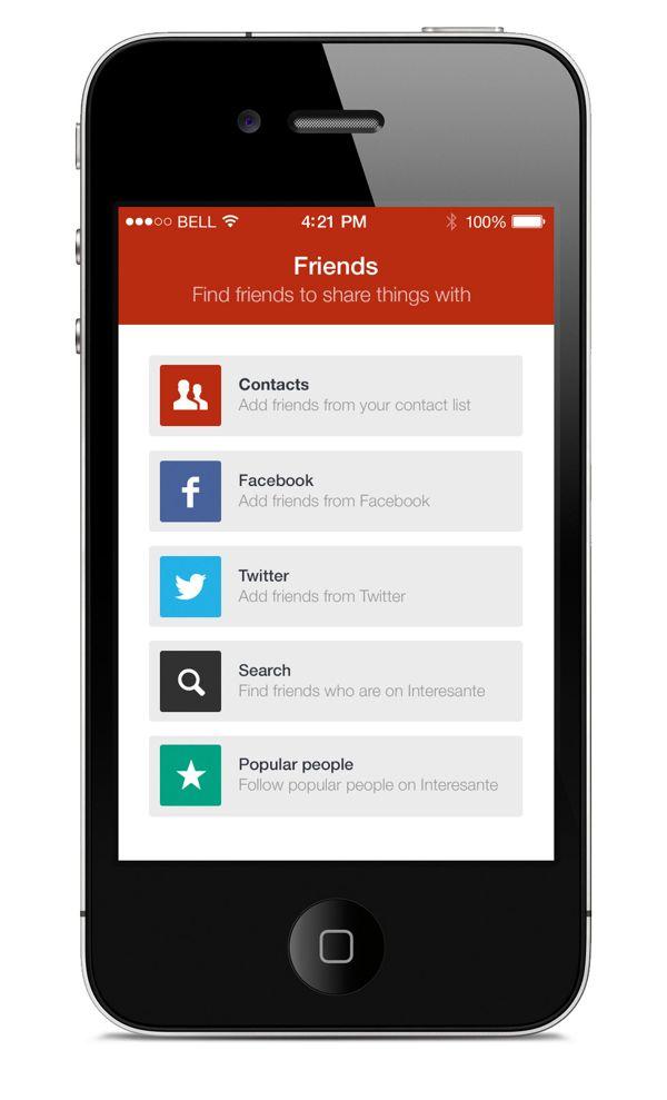 Flat iPhone App Template on Behance | Mobile UI | Friends | Pinterest
