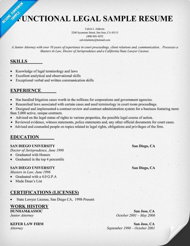 functional legal resume sample law