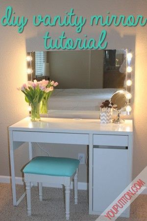 DIY Vanity Mirror Tutorial:  project credits and thanks to the You Put it On: All things beauty, health and DIY Blog
