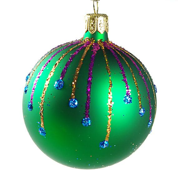 Ray Glass Christmas Ball Ornament green matte by HolidayGiftShops