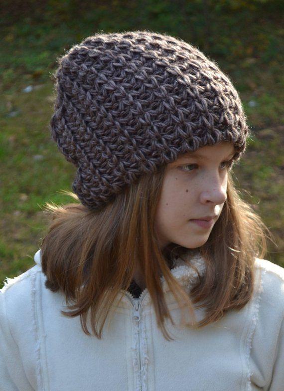 Oversized beanie-Big head hat- Black tam-Womens winter slouchy hat ... f82b5e78a59