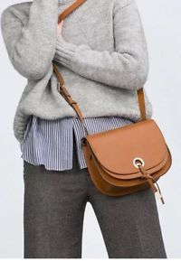 BLOGGERS FAV! ZARA ROUND BROWN MESSENGER CROSS-BODY BAG WITH DOUBLE FLAP. | eBay