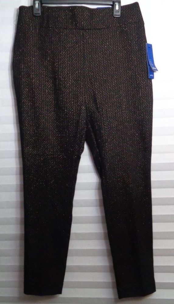 a443aeb5e37a2 Apt. 9 Brynn Skinny Black Bronze Metallic Stretch Dress Pants Women s Size  12 u  Apt9  bootcut