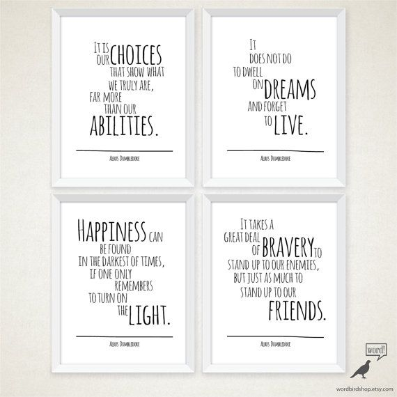 Harry Potter Quotes Albus Dumbledore wise words of by WordBirdShop