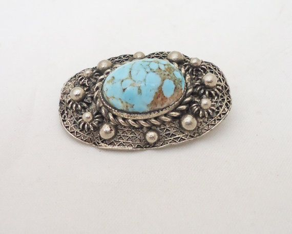 Vintage Brooch Silver Tone Brooch with by thesecretcupboard, £8.50