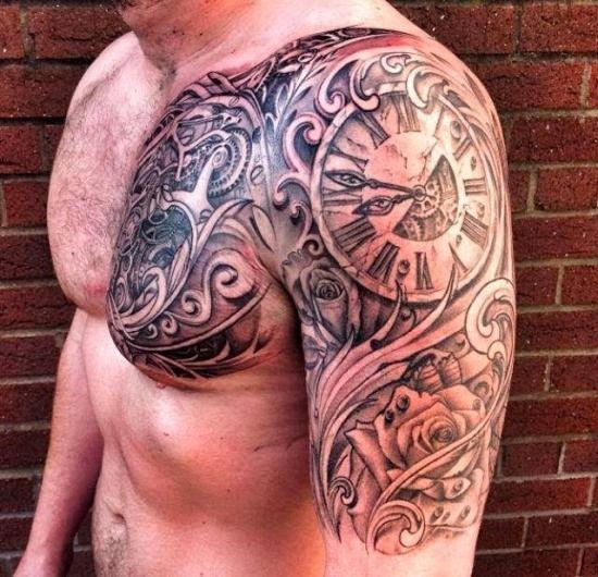 Steampunk Chest & Sleeve Tattoo