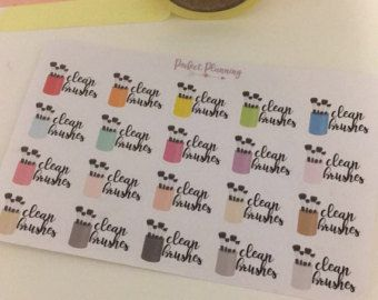 G001 Clean Makeup Brush Stickers by LittleSurpriseShop on Etsy