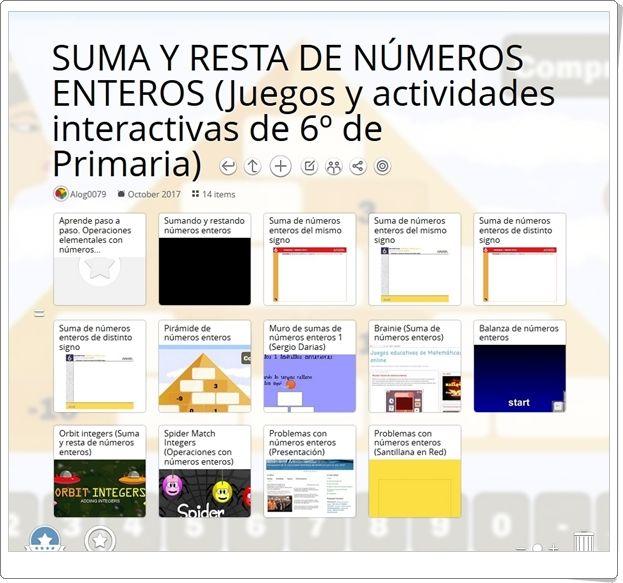 """""""14 juegos y actividades interactivas para la práctica de LA SUMA Y RESTA DE NÚMEROS ENTEROS en 6º de Primaria"""""""